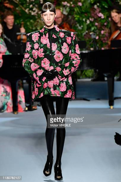 A model walks the runway at the Richard Quinn Ready to Wear Fall/Winter 20192020 fashion show during London Fashion Week February 2019 at Ambika P3...