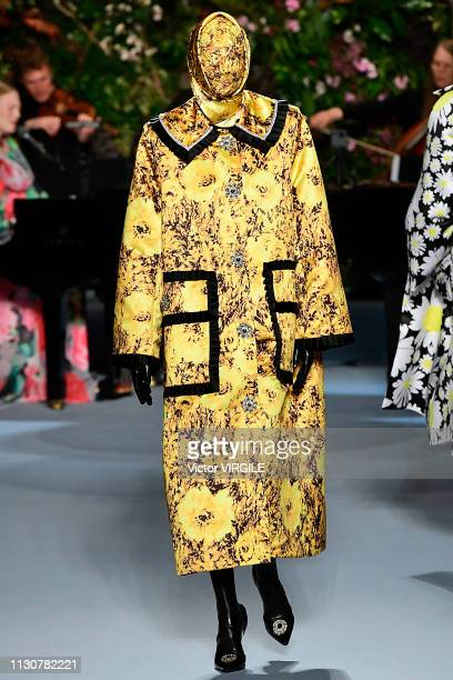 Model walks the runway at the Richard Quinn Ready to Wear Fall/Winter 2019-2020 fashion show during London Fashion Week February 2019 at Ambika P3 on...
