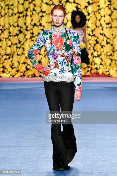 Model walks the runway at the Richard Quinn Ready to Wear Fall/Winter 2020-2021 fashion show during London Fashion Week on February 15, 2020 in...