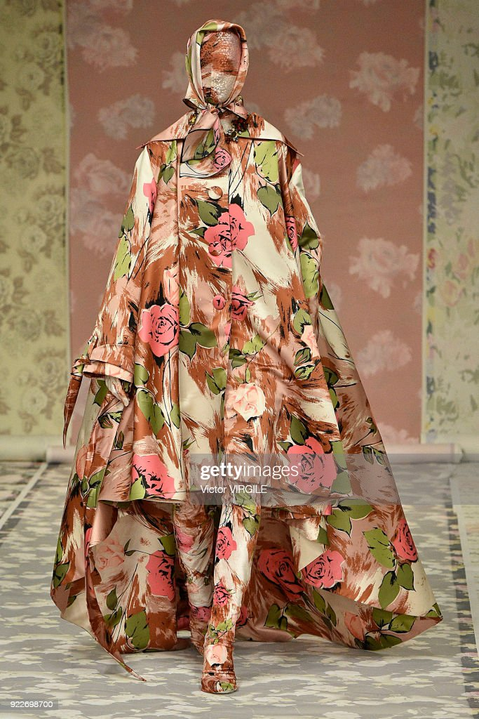 A model walks the runway at the Richard Quinn Ready to Wear Fall/Winter 2018-2019 fashion show during London Fashion Week February 2018 on February 20, 2018 in London, England.