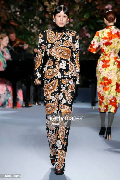 A model walks the runway at the Richard Quinn show during London Fashion Week February 2019 at Ambika P3 on February 19 2019 in London England