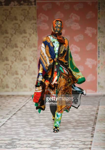 A model walks the runway at the Richard Quinn show during London Fashion Week February 2018 at BFC Show Space on February 20 2018 in London England