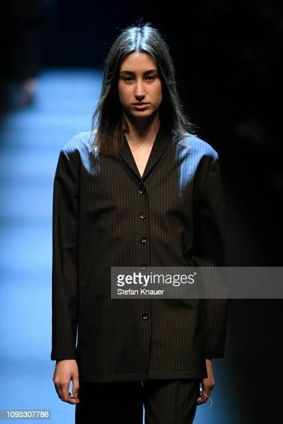 A model walks the runway at the Richert Beil show during the Berlin Fashion Week Autumn/Winter 2019 at ewerk on January 17 2019 in Berlin Germany