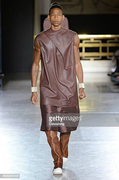 A model walks the runway at the Rick Owens Autumn Winter 2014 fashion show during Paris Menswear Fashion Week on January 16 2014 in Paris France