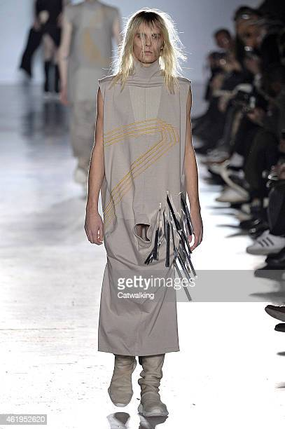 A model walks the runway at the Rick Owens Autumn Winter 2015 fashion show during Paris Menswear Fashion Week on January 22 2015 in Paris France