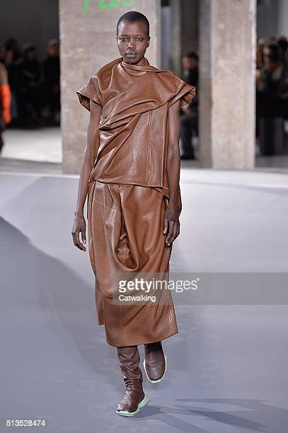 A model walks the runway at the Rick Owens Autumn Winter 2016 fashion show during Paris Fashion Week on March 3 2016 in Paris France