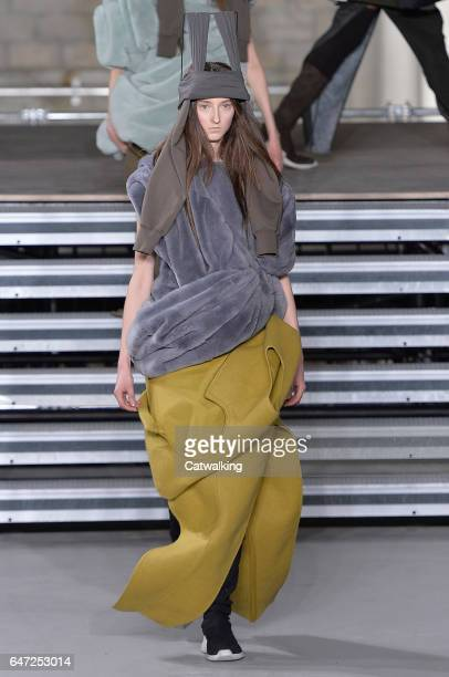 A model walks the runway at the Rick Owens Autumn Winter 2017 fashion show during Paris Fashion Week on March 2 2017 in Paris France