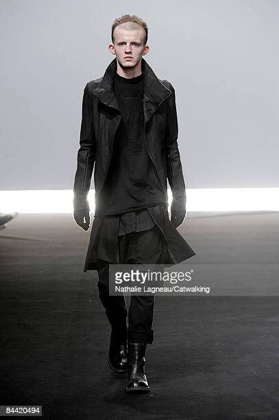 A model walks the runway at the Rick Owens fashion show during Paris Fashion Week Menswear Autumn/Winter 2009 on January 23 2009 in Paris France