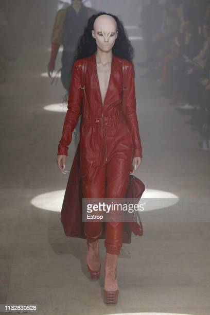 A model walks the runway at the Rick Owens show at Paris Fashion Week Autumn/Winter 2019/20 on February 28 2019 in Paris France
