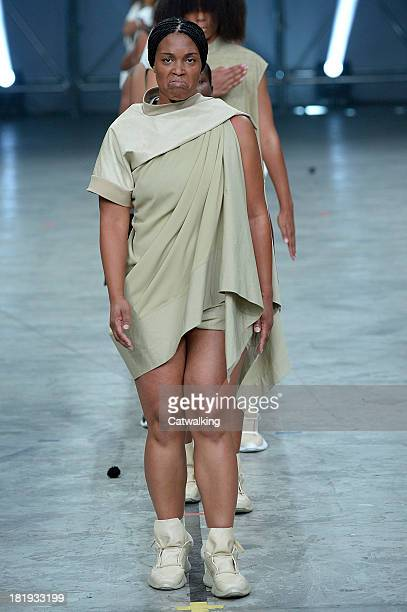 A model walks the runway at the Rick Owens Spring Summer 2014 fashion show during Paris Fashion Week on September 26 2013 in Paris France