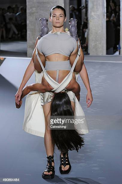 A model walks the runway at the Rick Owens Spring Summer 2016 fashion show during Paris Fashion Week on October 1 2015 in Paris France