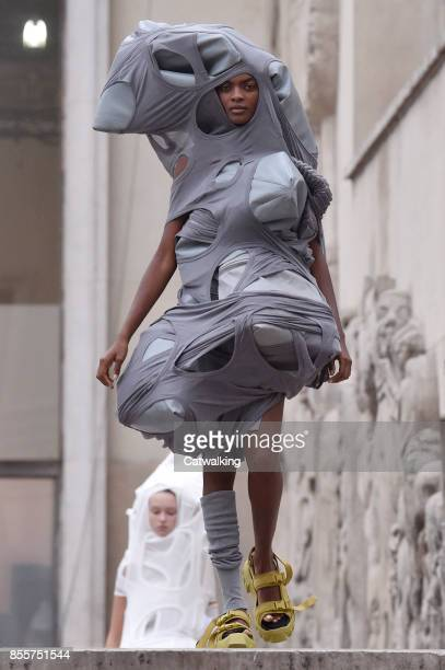 A model walks the runway at the Rick Owens Spring Summer 2018 fashion show during Paris Fashion Week on September 28 2017 in Paris France