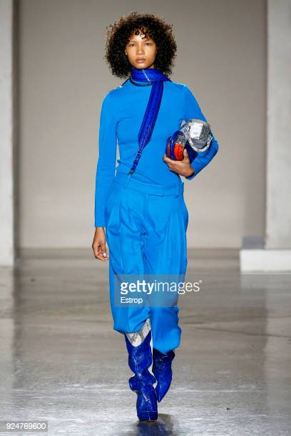 A model walks the runway at the Ricostru show during Milan Fashion Week Fall/Winter 2018/19 on February 26 2018 in Milan Italy