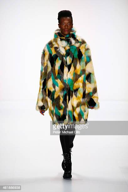 A model walks the runway at the Rike Feurstein show during the MercedesBenz Fashion Week Berlin Autumn/Winter 2015/16 at Brandenburg Gate on January...