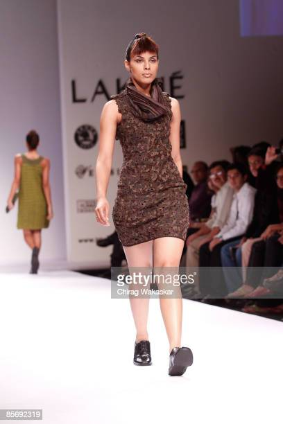 A model walks the runway at the Rimzim Dadu show at Lakme India Fashion Week Autumn/Winter 2009 at Grand Hyatt on March 29 2009 in Bombay India