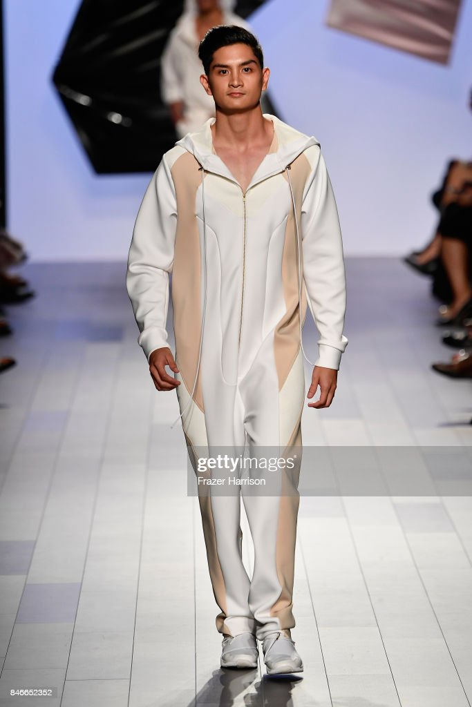A model walks the runway at the RISD fashion show during New York Fashion Week: The Shows at Gallery 1, Skylight Clarkson Sq on September 13, 2017 in New York City.