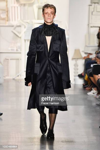 A model walks the runway at the RISD fashion show during September 2018 New York Fashion Week The Shows at Gallery I at Spring Studios on September...