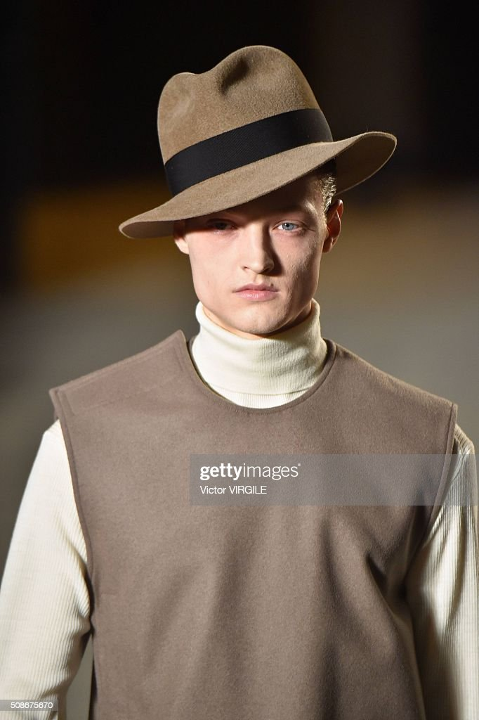 A model walks the runway at the Robert Geller show during New York Fashion Week Men's Fall/Winter 2016 on February 2, 2016 in New York City.