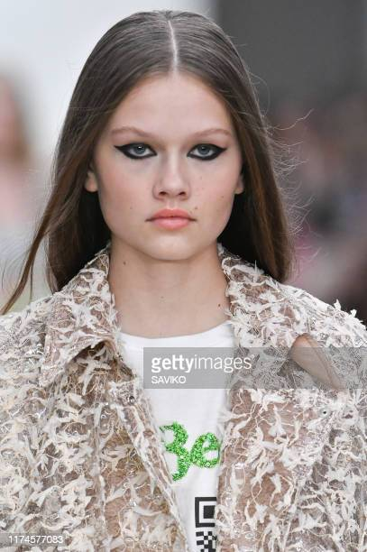 Model walks the runway at the Roberta Einer Ready to Wear Spring/Summer 2020 fashion show during London Fashion Week September 2019 on September 13,...