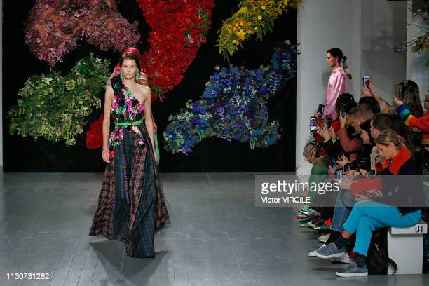 Model walks the runway at the Roberta Einer Ready to Wear Fall/Winter 2019-2020 fashion show during London Fashion Week February 2019 on February 19,...