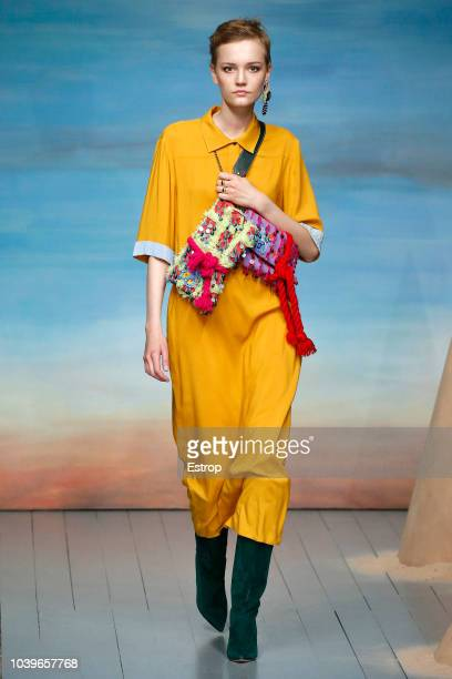 A model walks the runway at the Roberta Einer show during London Fashion Week September 2018 on September 18 2018 in London England
