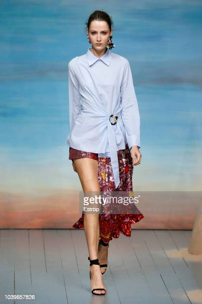 Model walks the runway at the Roberta Einer show during London Fashion Week September 2018 on September 18, 2018 in London, England.