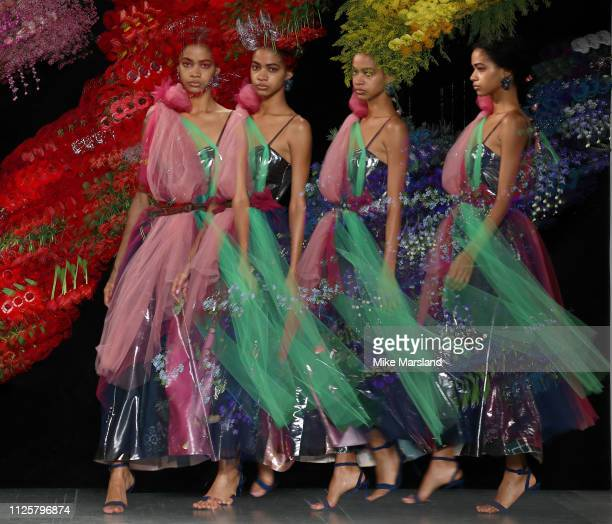 Model walks the runway at the Roberta Einer show during London Fashion Week February 2019 at the BFC Show Space on February 19, 2019 in London,...