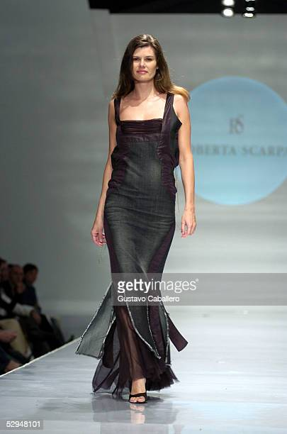 A model walks the runway at the Roberta Scarpa show on day four of Miami Fashion Week of the Americas on May 14 2005 in Miami Beach Florida