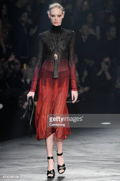 Model walks the runway at the Roberto Cavalli Autumn Winter 2014 fashion show during Milan Fashion Week on February 22, 2014 in Milan, Italy.