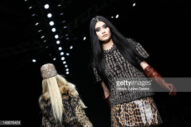 Model walks the runway at the Roberto Cavalli Autumn/Winter 2012/2013 fashion show as part of Milan Womenswear Fashion Week on February 27, 2012 in...