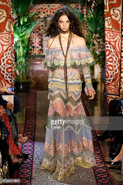 A model walks the runway at the Roberto Cavalli designed by Peter Dundas show Milan Fashion Week Spring/Summer 2017 on September 21 2016 in Milan...
