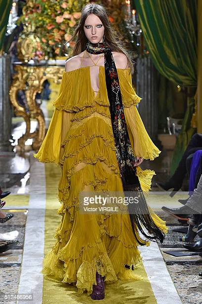 A model walks the runway at the Roberto Cavalli fashion show during Milan Fashion Week Fall/Winter 2016/2017 on February 24 2016 in Milan Italy
