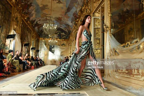Model walks the runway at the Roberto Cavalli fashion show during the Milan Fashion Week - Spring / Summer 2022 on September 22, 2021 in Milan, Italy.