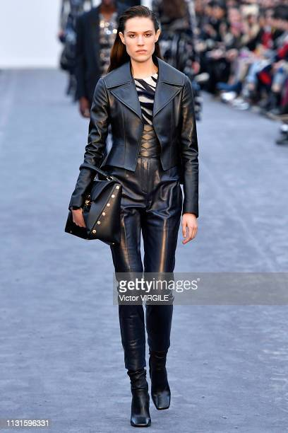 Model walks the runway at the Roberto Cavalli Ready to Wear Fall/Winter 2019-2020 fashion show at Milan Fashion Week Autumn/Winter 2019/20 on...
