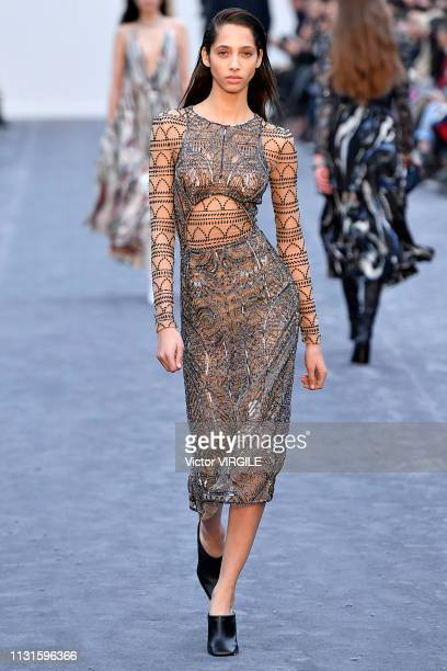 A model walks the runway at the Roberto Cavalli Ready to Wear Fall/Winter 20192020 fashion show at Milan Fashion Week Autumn/Winter 2019/20 on...