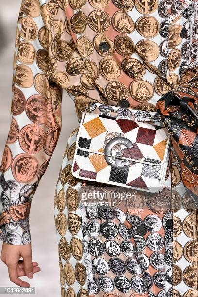 A model walks the runway at the Roberto Cavalli Ready to Wear fashion show during Milan Fashion Week Spring/Summer 2019 on September 22 2018 in Milan...
