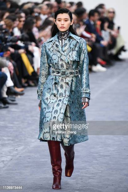 Model walks the runway at the Roberto Cavalli show at Milan Fashion Week Autumn/Winter 2019/20 on February 23, 2019 in Milan, Italy.