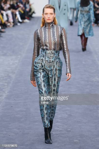 Model walks the runway at the Roberto Cavalli show at Milan Fashion Week Autumn/Winter 2019/20 on February 20, 2019 in Milan, Italy. Italy.