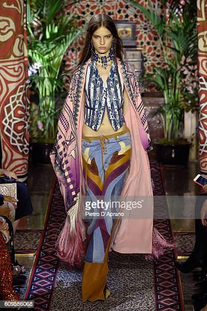 Model walks the runway at the Roberto Cavalli show during Milan Fashion Week Spring/Summer 2017 on September 21, 2016 in Milan, Italy.