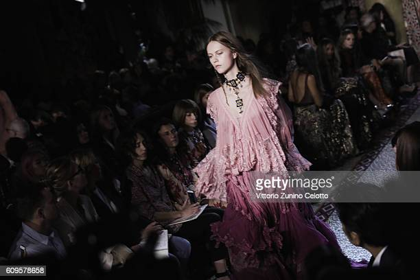 A model walks the runway at the Roberto Cavalli show during Milan Fashion Week Spring/Summer 2017 on September 21 2016 in Milan Italy
