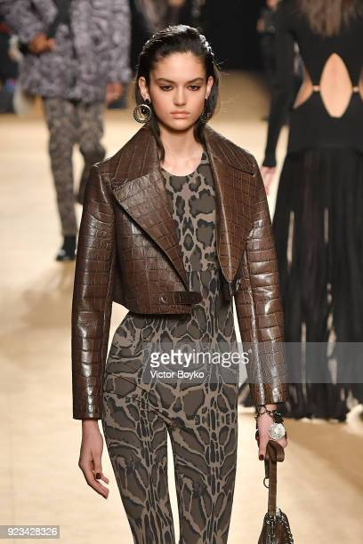 A model walks the runway at the Roberto Cavalli show during Milan Fashion Week Fall/Winter 2018/19 on February 23 2018 in Milan Italy