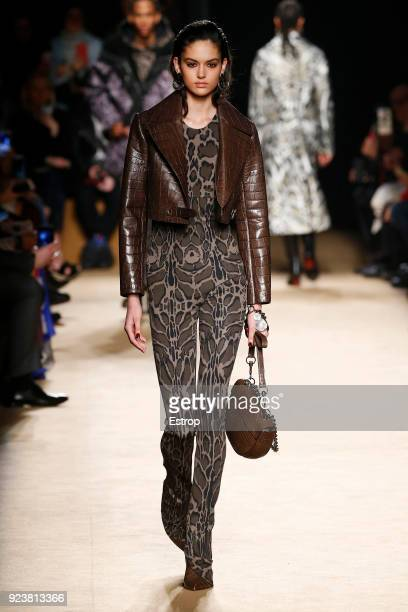 Model walks the runway at the Roberto Cavalli show during Milan Fashion Week Fall/Winter 2018/19 on February 23, 2018 in Milan, Italy.