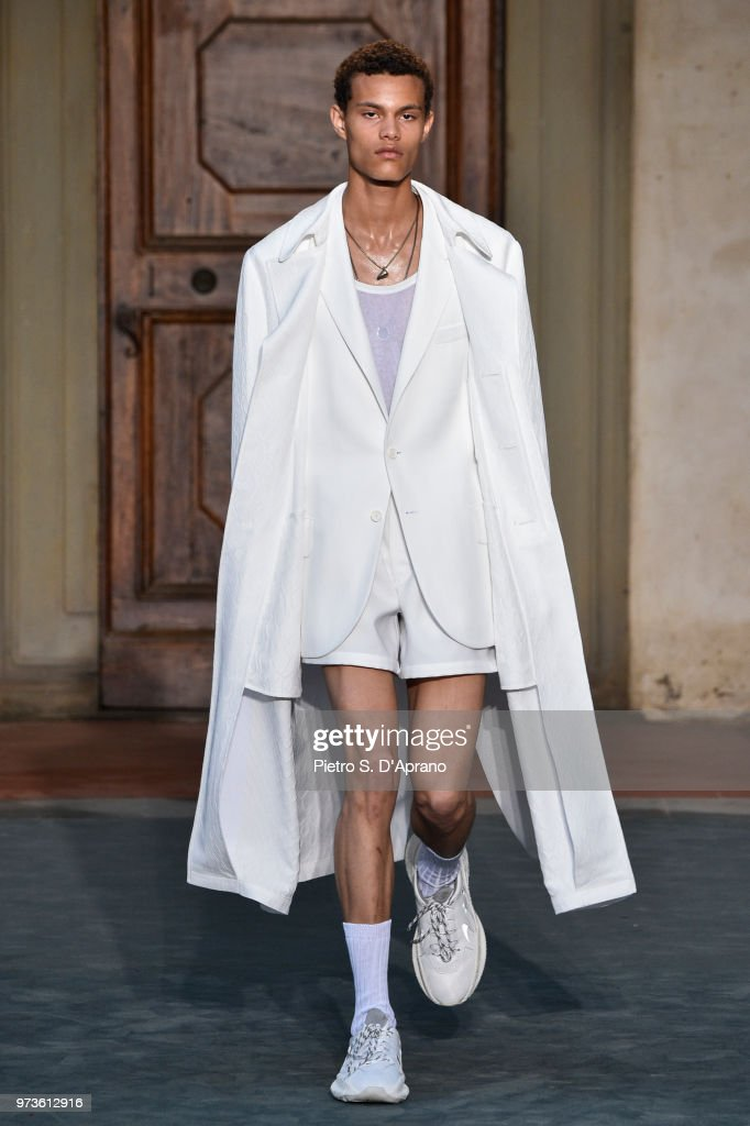 A model walks the runway at the Roberto Cavalli show during the 94th Pitti Immagine Uomo on June 13, 2018 in Florence, Italy.