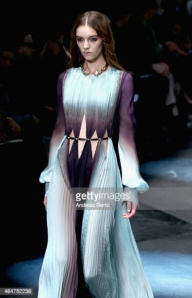 A model walks the runway at the Roberto Cavalli show during the Milan Fashion Week Autumn/Winter 2015 on February 28 2015 in Milan Italy