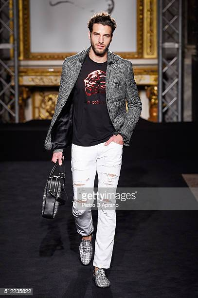 A model walks the runway at the Roccobarocco show during Milan Fashion Week Fall/Winter 2016/17 on February 25 2016 in Milan Italy