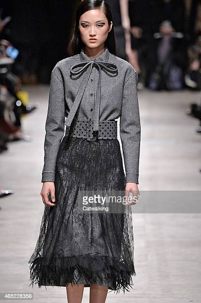 A model walks the runway at the Rochas Autumn Winter 2015 fashion show during Paris Fashion Week on March 4 2015 in Paris France