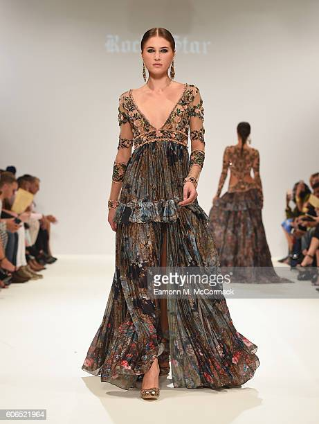 A model walks the runway at the Rocky Star show at Fashion Scout during London Fashion Week Spring/Summer collections 2017 on September 16 2016 in...