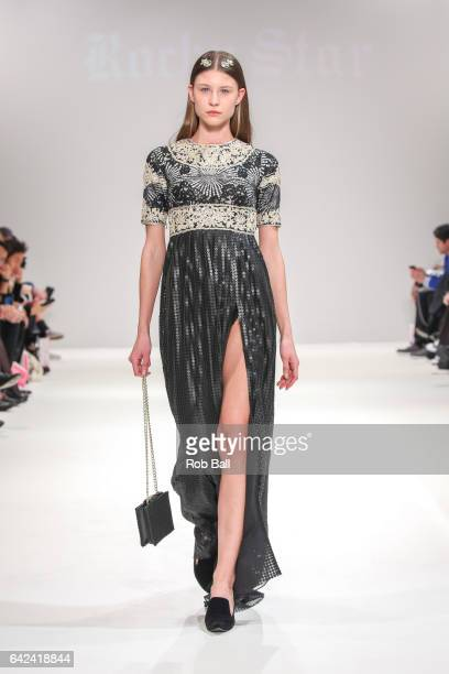 A model walks the runway at the Rocky Star show at Fashion Scout during the London Fashion Week February 2017 collections on February 17 2017 in...