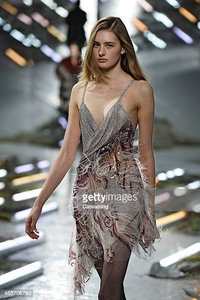A model walks the runway at the Rodarte Autumn Winter 2015 fashion show during New York Fashion Week on February 17 2015 in New York United States
