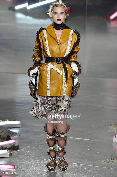 A model walks the runway at the Rodarte Autumn Winter 2016 fashion show during New York Fashion Week on February 16 2016 in New York United States